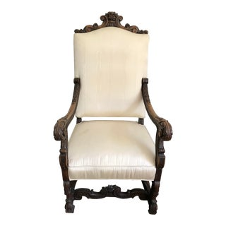 Antique French Carved Throne Arm Chair