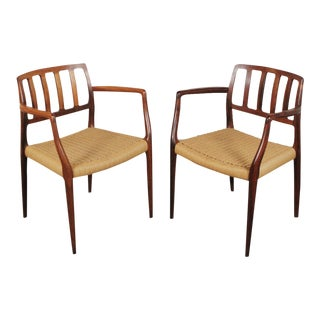 1960s Vintage N. O. Møller Model 66 Rosewood Armchairs- A Pair For Sale