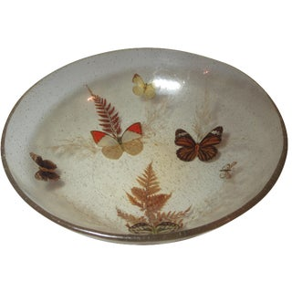 Vintage Pressed Butterfly Lucite Bowl