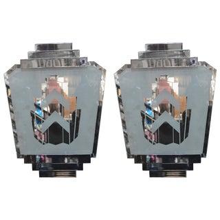 Pair of Silver Art Deco Sconces For Sale
