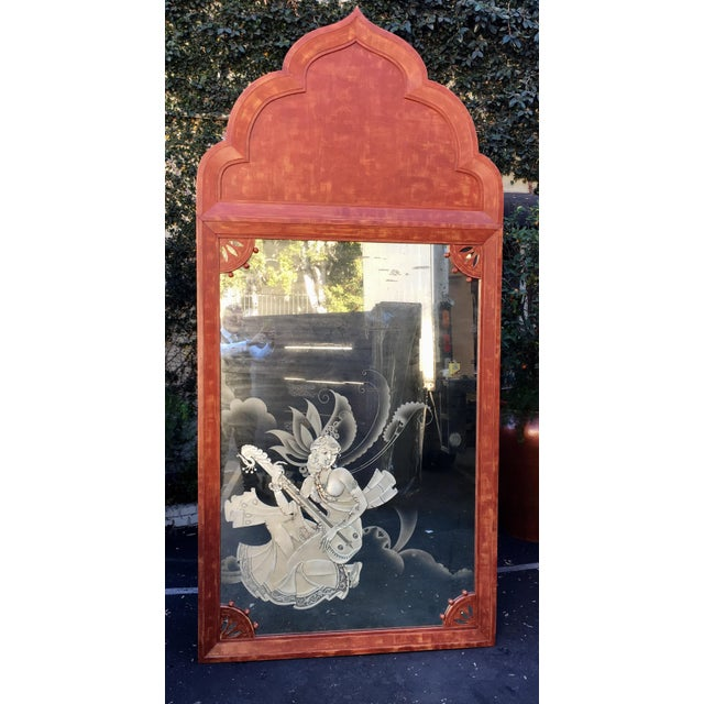 Huge Mid 20th Century Tony Duquette Red Bombay India Mirror For Sale - Image 5 of 5