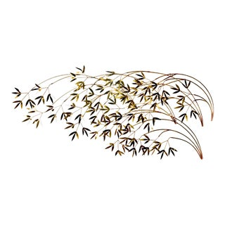 Curtis Jere Brass Leaf Bamboo Willow Branch Wall Art Sculpture For Sale