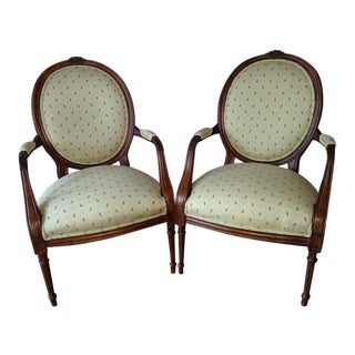 French Country Green Leaves Upholstered Fauteuil Chairs - a Pair