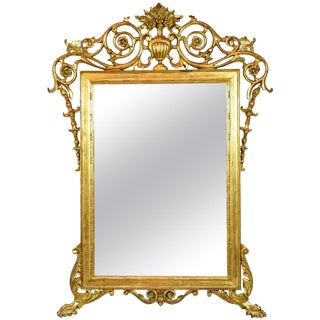 19th Century Antique Italian Rococo Giltwood Mirror For Sale