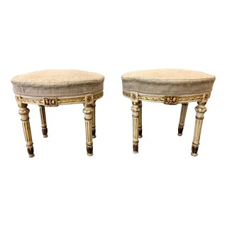 Italian Antique Painted Upholstered Stools - a Pair