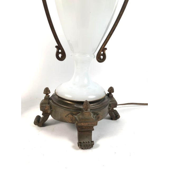 Louis XVI Style Neoclassical White Opaline Glass and Ormolu Lamps - a Pair For Sale - Image 4 of 13