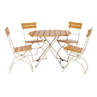 Folding Steel and Wood Bistro Patio Set Circa 1950