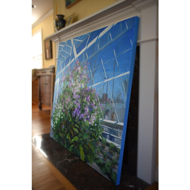 """""""Meet Me at the Greenhouse"""". Large (48"""" X 48"""") Contemporary Painting by Stephen Remick For Sale - Image 9 of 13"""