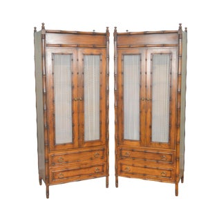 Faux Bamboo Quality Vintage Pair of Tall Armoire Cabinets