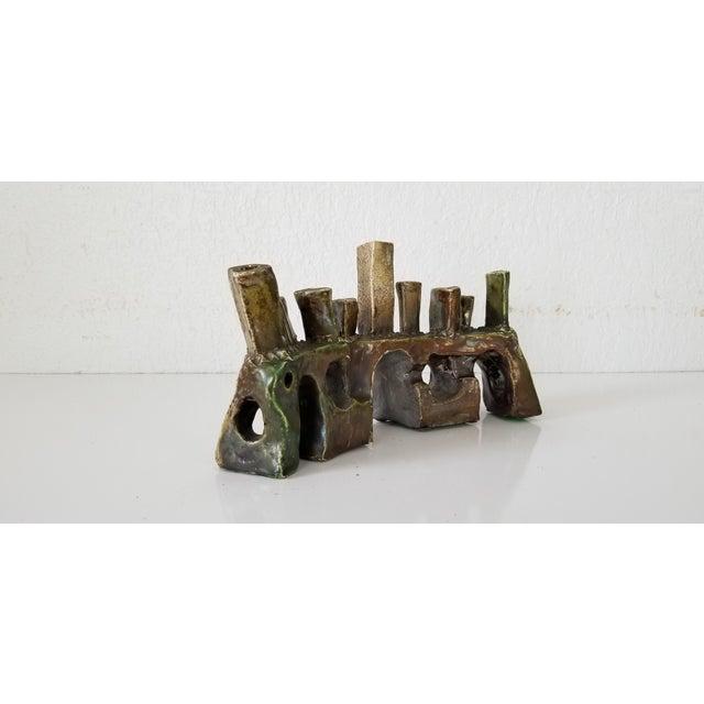 Brown Vintage Sdewitt Brutalist Art Pottery Menorah . For Sale - Image 8 of 12