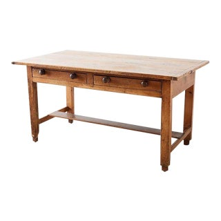 Rustic English Pine Library Table or Farm Table For Sale