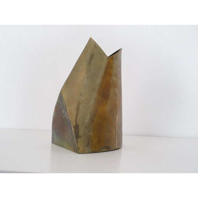 Unmarked Asymmetrical Brass Vase - Image 4 of 11