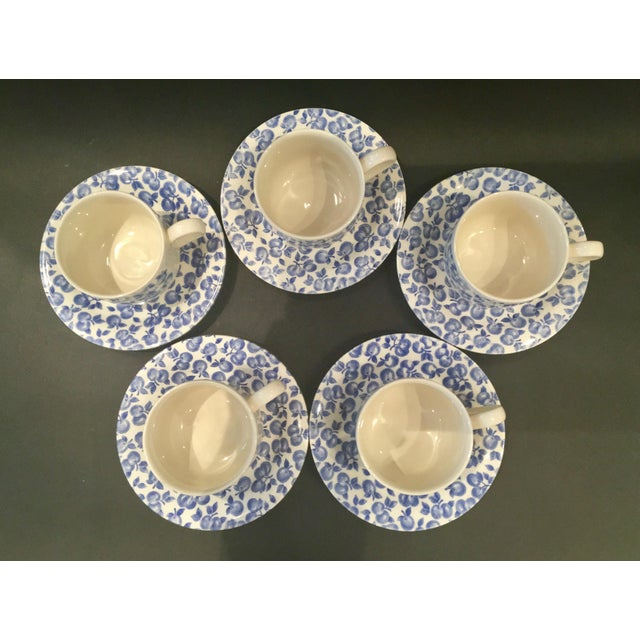 Vintage Eit Ltd. Ironstone Demitasse Cups & Matching Saucers With Blue Fruit Pattern - Set of Five - Image 6 of 8