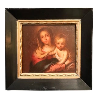 "Antique Painting ""Madonna With a Napkin"" After Bartolome Esteban Murillo 1666 For Sale"