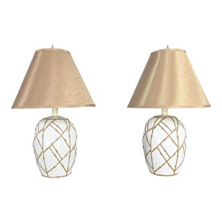 Mid-Century Pair White Chinoiserie Ginger Jar Lamps Gold Frosting Style Applied Bamboo Design For Sale