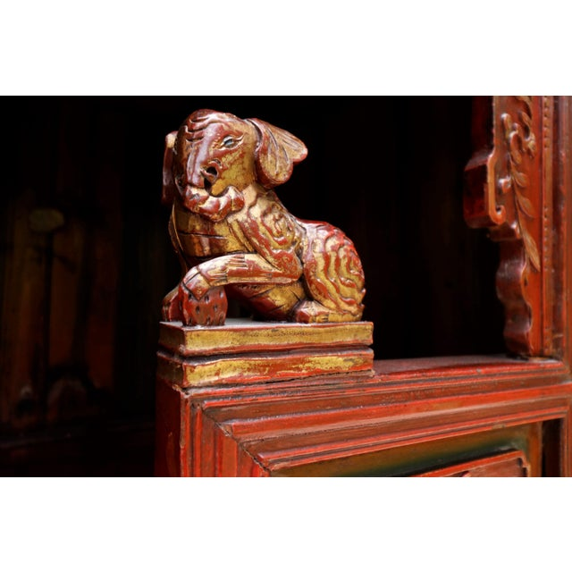 Mid 20th Century Carved Asian Sideboard in Red For Sale - Image 5 of 7