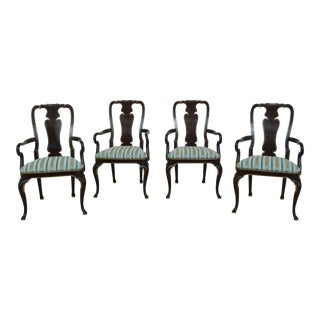 Set of 4 Kindel Queen Anne Paint Decorated Arm Chairs For Sale