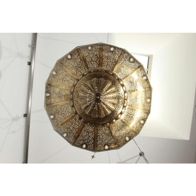 Gold Large Brass Moroccan Chandelier For Sale - Image 8 of 12