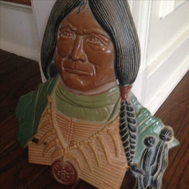 Vintage Metal Native American Wall Plaques - Pair - Image 8 of 11
