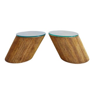 Pair Mid Century Pencil Reed Slanted Cantilever Side End Tables For Sale