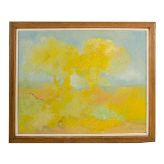 """1970s """"Two Trees"""" Expressionist Style Landscape Oil Painting by Hans Kline, Framed For Sale"""