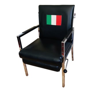 Mid Century Chrome & Vinyl Royal Metal Reclining Lounge Chair For Sale