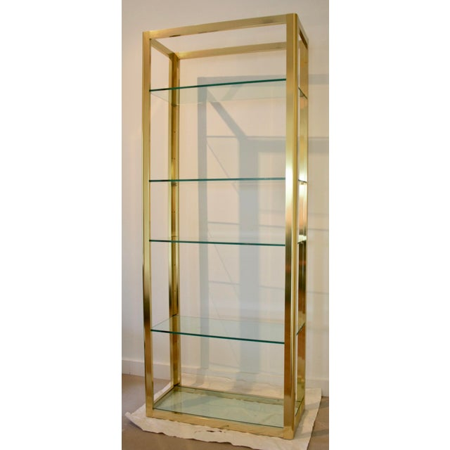 Milo Baughman Style Brass Etagere Shelving Unit For Sale - Image 9 of 11