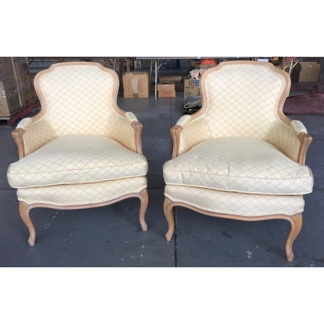 Vintage Cream and Pink Striped French Style Bergere Chairs - a Pair For Sale - Image 9 of 9