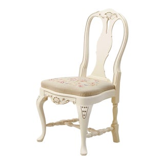 1930s Vintage Swedish Hand Painted Rococo Chair For Sale