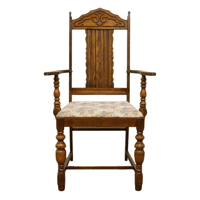 1920s Antique Gothic Revival Style Jacobean Dining Chair For Sale - 1920s Antique Gothic Revival Style Jacobean Dining Chair Chairish