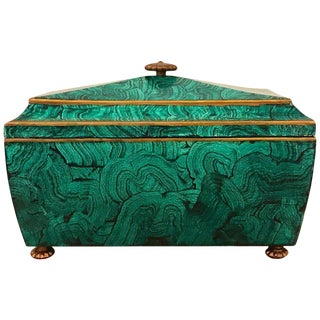 Regency Style Malachite Sarcophagus Covered Box, by Maitland Smith For Sale
