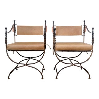 Antique Wrought Iron Savanarola Style Armchairs With New Tanned Leather - a Pair For Sale