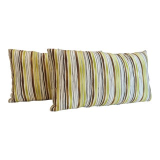 Custom Green Stripe Lumbar Pillows- a Pair For Sale