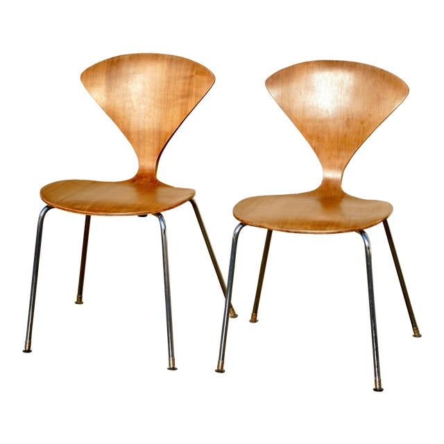 1950s Vintage Norman Cherner Designed Plycraft Chairs on Chrome Bases- 2 Available. For Sale