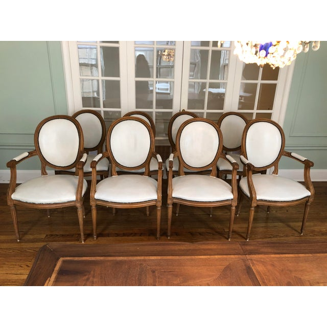 1960s Vintage Baker Furniture Leather Dining Chairs-Set of 8 For Sale - Image 9 of 12