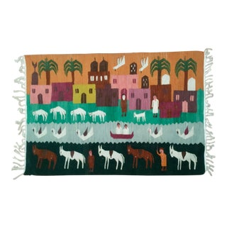 Cityscape & Animal Motif Woven Wool Tapestry For Sale