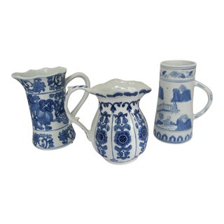 Vintage Blue & White Chinoiserie Pitchers - Set of 3 For Sale