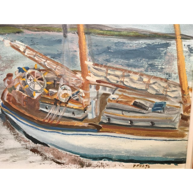"""Vintage impressionist oil painting. Seascape titled """"Tall Ship II"""" Signed and dated 1976. Very nice quality. Fine detail..."""
