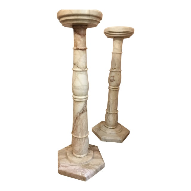 1950s Italian Pink Marble Pillars - a Pair For Sale