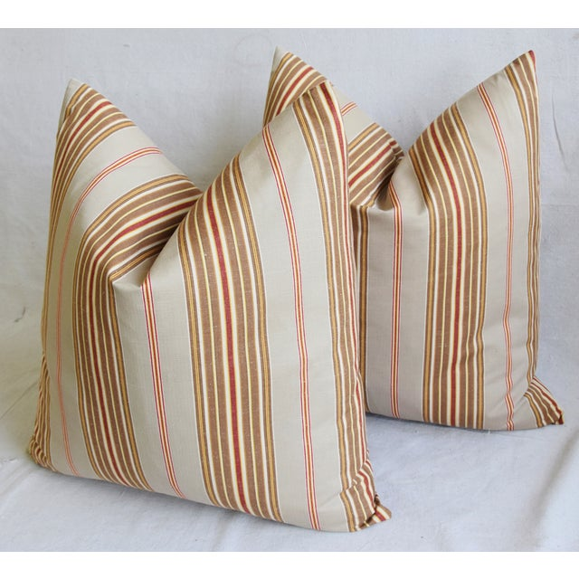"Red French Striped Ticking Feather/Down Pillows 23"" Square - Pair For Sale - Image 8 of 12"