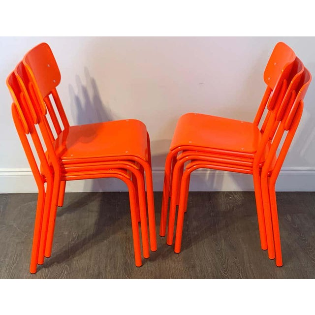 Modern Declercq Mobilier Modern Ml45 Neon Red Chairs - Set of 6 For Sale - Image 3 of 13