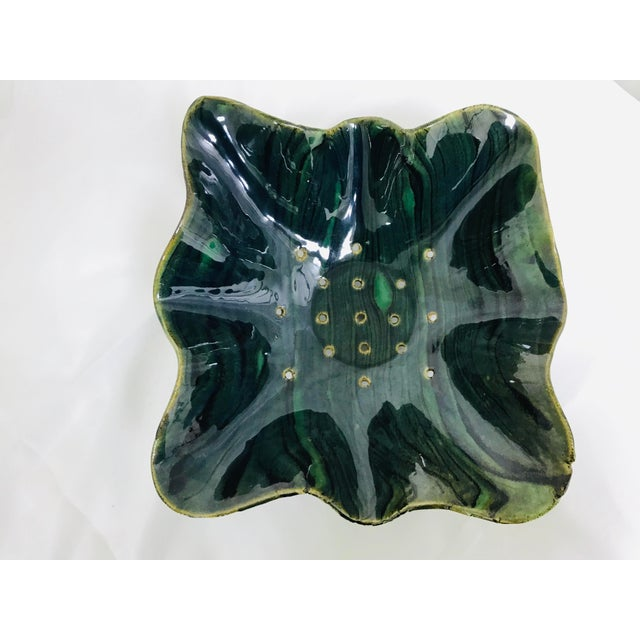Glazed Green Footed Berry Pottery Bowl For Sale In Saint Louis - Image 6 of 12