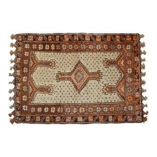 "Turkish Tribal Rug. Faded Colors Petite Kilim Rug - 3'6"" X 4'11"" For Sale"