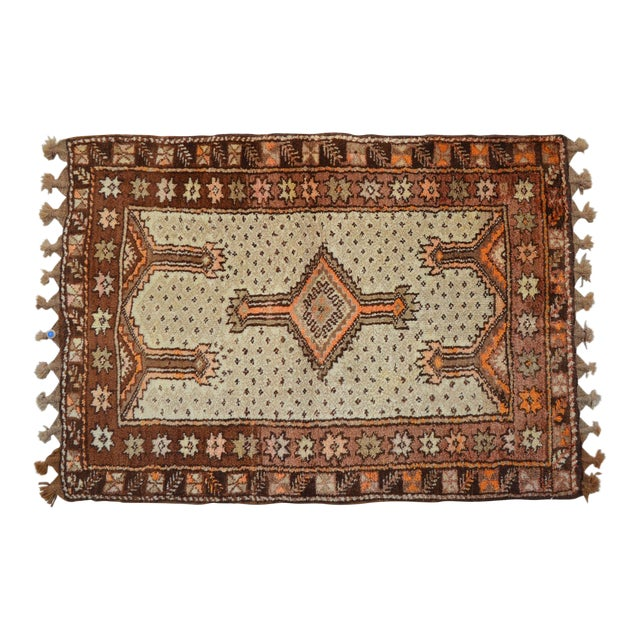 "Turkish Tribal Rug. Faded Colors Petite Kilim Rug - 3'6"" X 4'11"" For Sale"