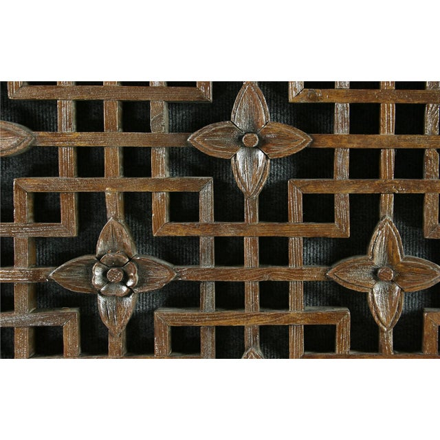 Antique Chinese Geometric Carved Window Screen - Image 4 of 7