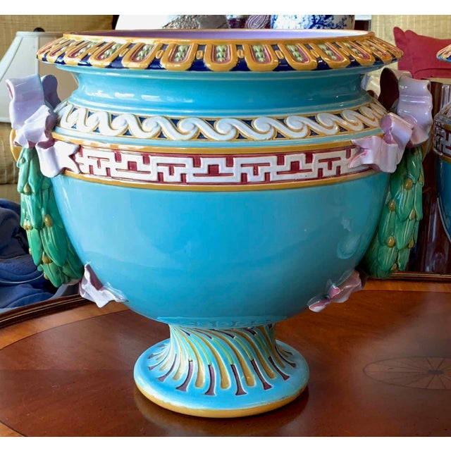 Antique Minton Majolica Urns - a Pair For Sale In Tampa - Image 6 of 13