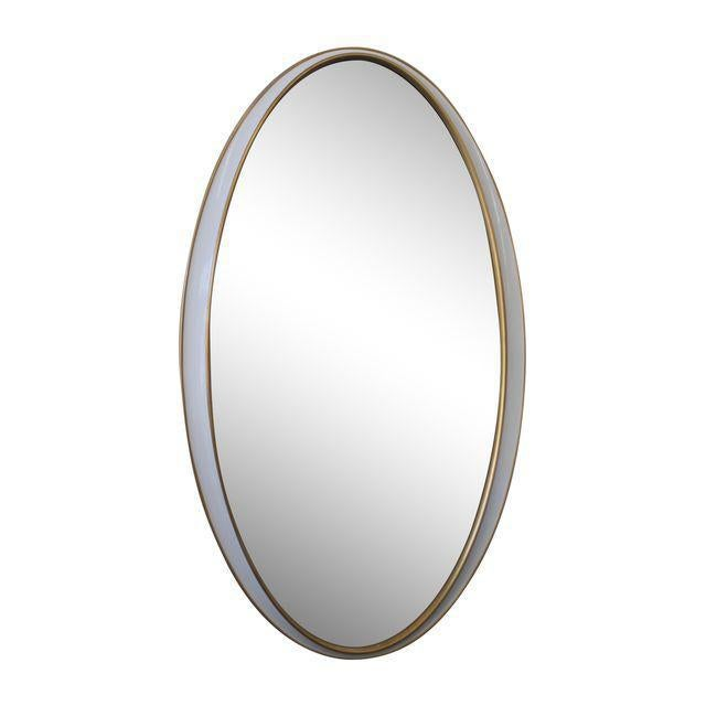 2010s White and Gold Oval Mirror For Sale - Image 5 of 5