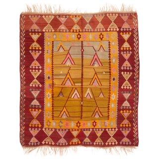 Geometric Wool Kilim Rug - 5′4″ × 6′8″ For Sale