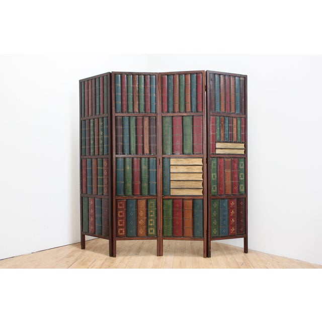 Traditional Vintage Trompe l'Oeil Folding Screen- Library Bas Relief Room Divider For Sale - Image 3 of 9