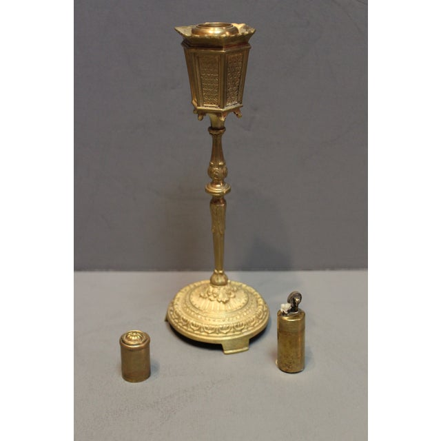 Antique bronze German table cigarette lighter in the form of a lamp post with beautifully cast ornate base, stamped on...